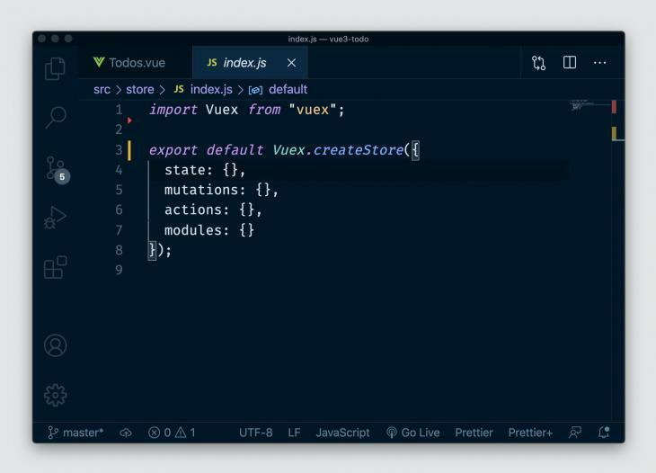 Vue store created in a few lines of code